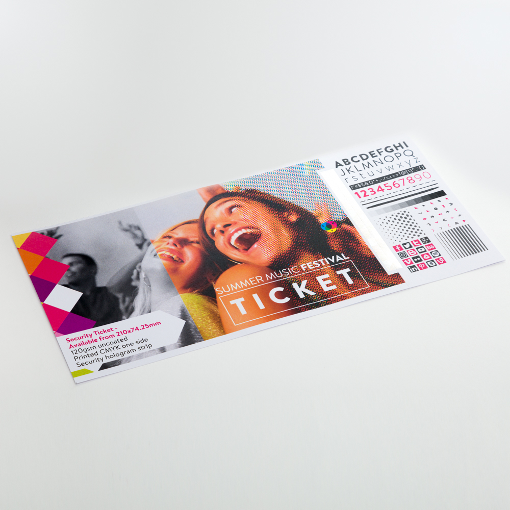 Security Ticket - Available from 210x74.25mm