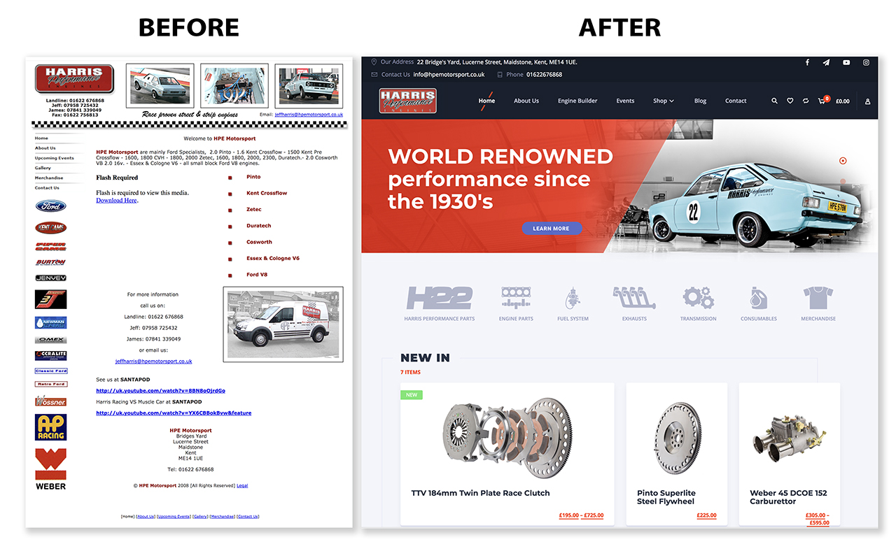 HPE Motorsport Before and After Website Development in Maidstone