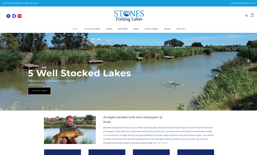 stones fishery website design kent