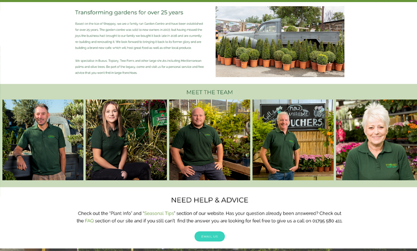 Stones Garden Centre website design sheppey